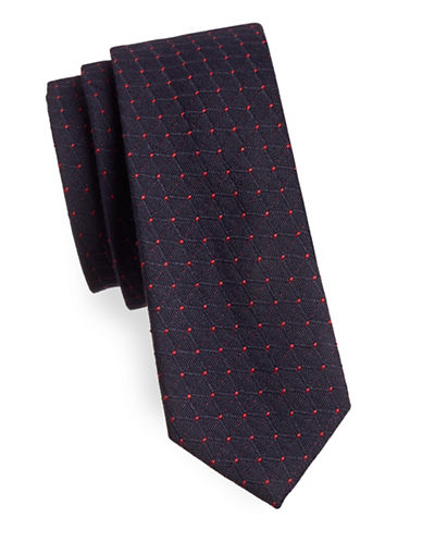 Haight And Ashbury Slim Jacquard Dot Tie-BLUE/RED-One Size