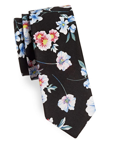 Haight And Ashbury Floral Print Slim Tie-WHITE/NAVY-One Size