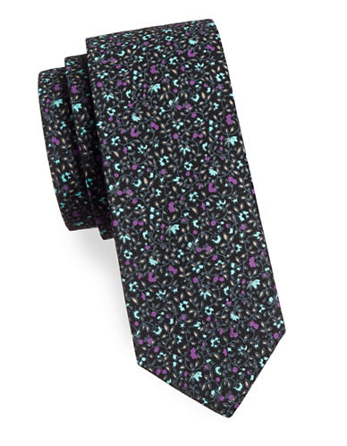 Haight And Ashbury Floral Cotton Tie-BLACK/PURPLE-One Size