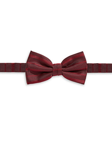 Haight And Ashbury Pre-Tied Striped Silk Bow Tie-RED-One Size