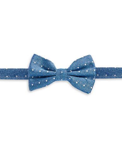 Haight And Ashbury Polka Dot Silk Bow Tie-BLUE-One Size