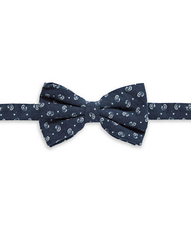Haight And Ashbury Single Paisley Cotton Bow Tie-NAVY-One Size
