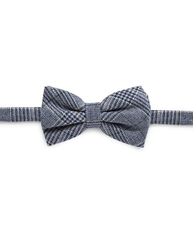 Haight And Ashbury Small Glen Check Bow Tie-NAVY/BLUE-One Size