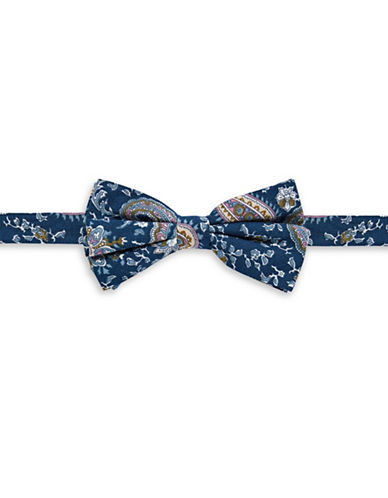 Haight And Ashbury Paisley Cotton Bow Tie-NAVY-One Size