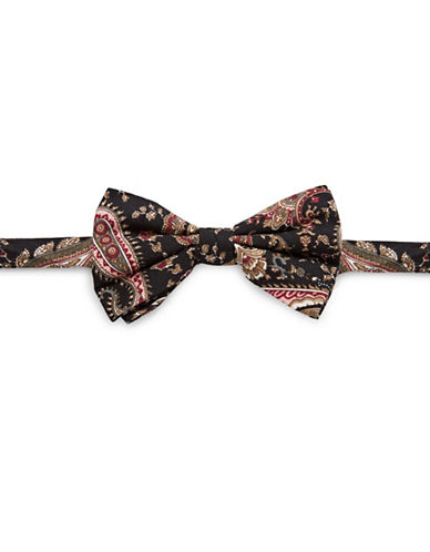Haight And Ashbury Paisley Cotton Bow Tie-BLACK-One Size