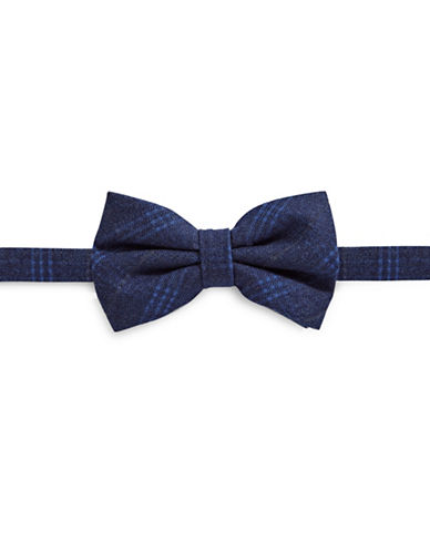 Haight And Ashbury Geo Plaid Cotton Bow Tie-NAVY-One Size