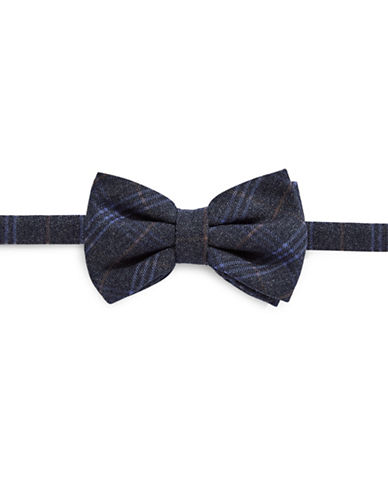Haight And Ashbury Geo Plaid Cotton Bow Tie-CHARCOAL-One Size