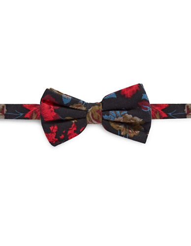 Haight And Ashbury Floral Silk Bow Tie-RED/BLACK-One Size