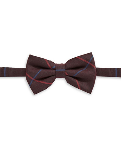 Haight And Ashbury Herringbone Check Cotton Bow Tie-RED-One Size