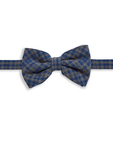 Haight And Ashbury Checkered Silk Bow Tie-BLUE-One Size