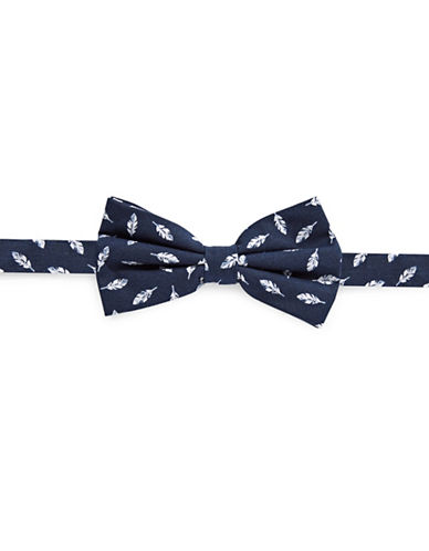 Haight And Ashbury Leaf-Print Cotton Bow Tie-NAVY-One Size