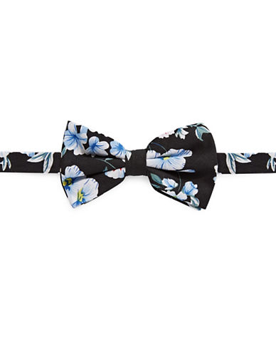 Haight And Ashbury Flower Print Cotton Bow Tie-WHITE/NAVY-One Size