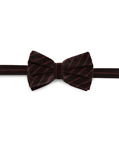 Haight And Ashbury Velvet Stripe Bow Tie-RED-One Size