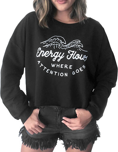 Neoclassics Energy Flows Crop Sweatshirt-BLACK-X-Small