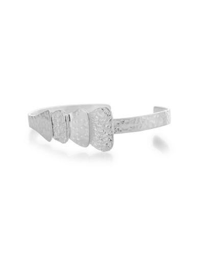 Serpentina Silver Foil-Texture Cuff Bracelet-SILVER-One Size