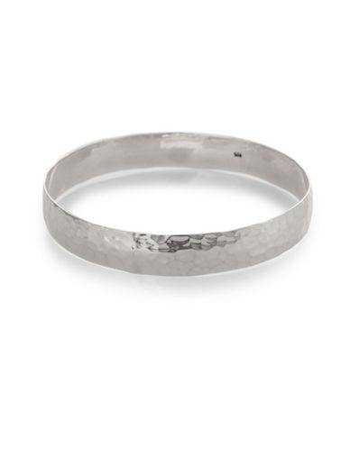 Serpentina Silver Wide Hammered Bangle Bracelet-SILVER-One Size
