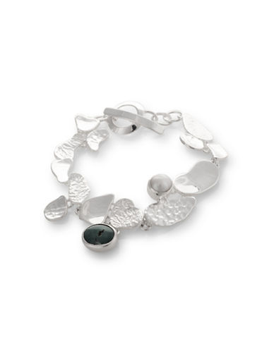 Serpentina Silver 3MM Freshwater Pearl and Turquoise Fragmented Bracelet-SILVER-One Size