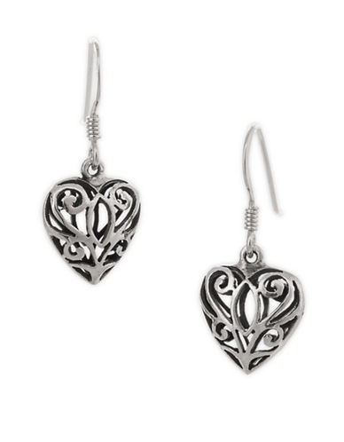Serpentina Silver Celtic Heart Earrings-SILVER-One Size