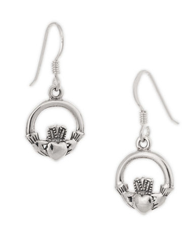 Serpentina Silver Claddagh Earrings-SILVER-One Size
