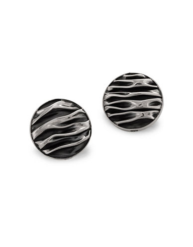 Serpentina Silver Crushed and Oxidized Stud Earrings-SILVER-One Size