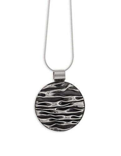 Serpentina Silver Oxidized Circle Pendant Necklace-SILVER-One Size