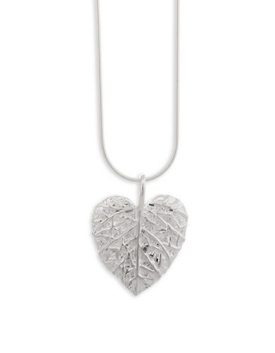 Serpentina Silver Sterling Silver Leaf Pendant Necklace-SILVER-One Size