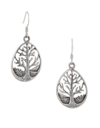Serpentina Silver Tree of Life Teardrop Earrings-SILVER-One Size