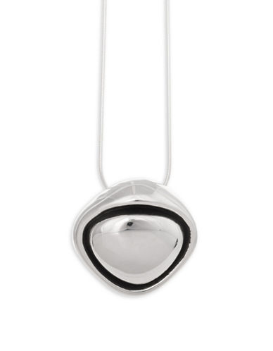 Serpentina Silver Abstract Oblong Pendant Necklace-SILVER-One Size