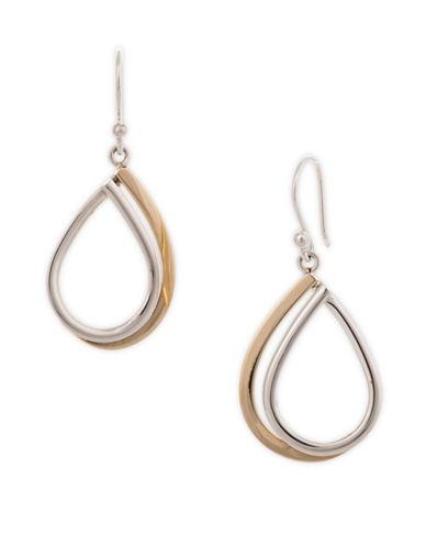 Serpentina Silver Two-Tone Open Teardrop Earrings-SILVER/GOLD-One Size