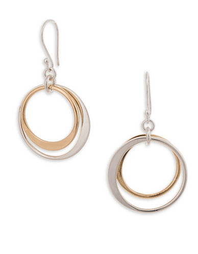 Serpentina Silver Silver and Tumbaga Floating Circles Drop Earrings-SILVER/GOLD-One Size