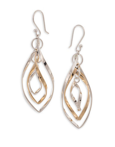 Serpentina Silver Silver and Tumbaga Dangly Drop Earrings-SILVER/GOLD-One Size