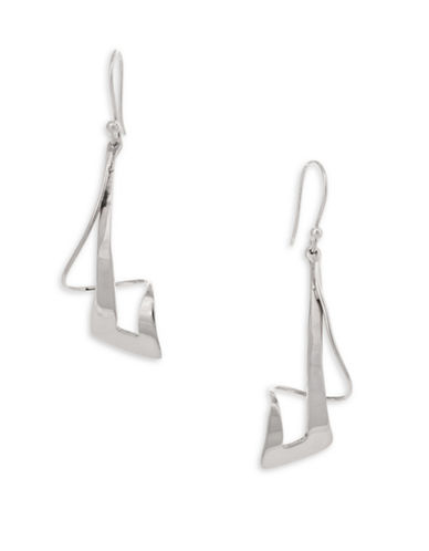 Serpentina Silver Core Sterling Silver Haute Graffiti Checkmark Drop Earrings-SILVER-One Size