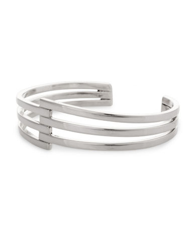 Serpentina Silver Core Sterling Silver Juxtaposed Layers Cuff Bracelet-SILVER-One Size