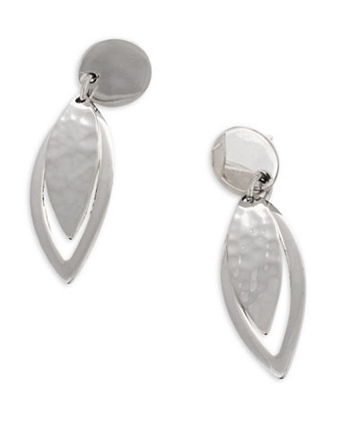 Serpentina Silver Core Sterling Silver Overlapping Leaf Drop Earrings-SILVER-One Size