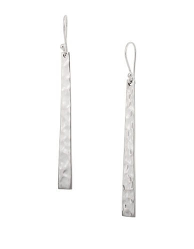 Serpentina Silver Core Sterling Silver Long Hammered Stick Drop Earrings-SILVER-One Size