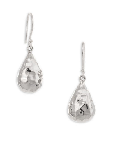 Serpentina Silver Core Sterling Silver Fat Hammered Teardrop Earrings-SILVER-One Size