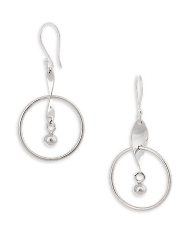 Serpentina Silver Core Sterling Silver Hoop Ball and Twist Drop Earrings-SILVER-One Size