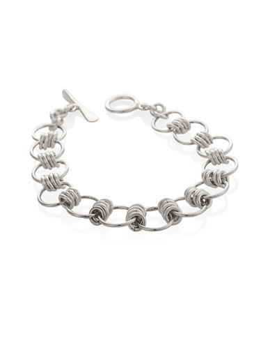 Serpentina Silver Core Sterling Silver Hoop and Ring Link Bracelet-SILVER-One Size