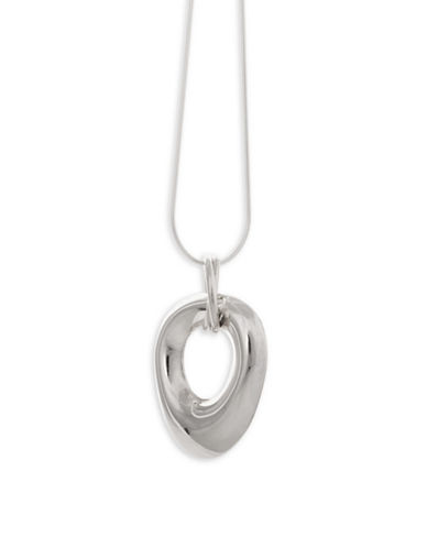 Serpentina Silver Core Sterling Silver Abstract Oblong Pendant Necklace-SILVER-One Size