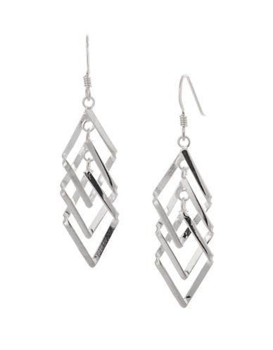 Serpentina Silver Core Sterling Silver Triple Diamond Dangly Drop Earrings-SILVER-One Size