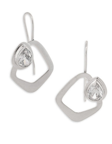 Serpentina Silver Core Sterling Silver and Crystal Nouveau Triangle Drop Earrings-SILVER-One Size