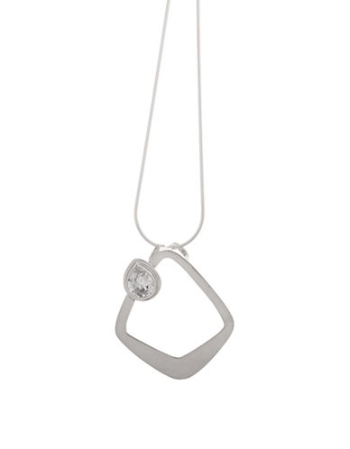 Serpentina Silver Core Sterling Silver and Crystal Nouveau Triangle Pendant Necklace-SILVER-One Size