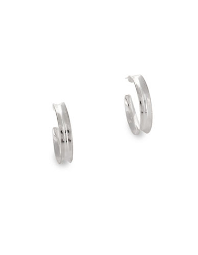 Serpentina Silver Silver Plate Designs Concave Hoop Earrings-SILVER-One Size