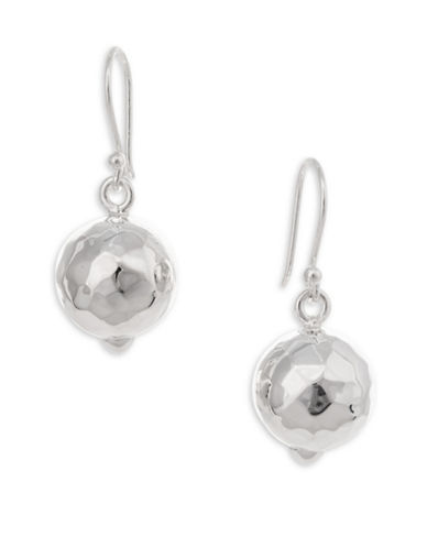 Serpentina Silver Silver Plate Designs Hammered Ball Drop Earrings-SILVER-One Size