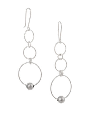 Serpentina Silver Silver Plate Designs Hoop and Ball Drop Earrings-SILVER-One Size