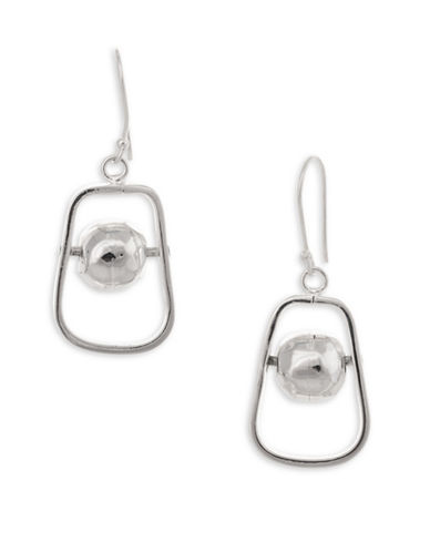Serpentina Silver Silver Plate Designs Framed and Spinning Ball Drop Earrings-SILVER-One Size