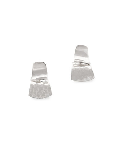 Serpentina Silver Silver Plate Designs Double Decker Dangly Stud Earrings-SILVER-One Size