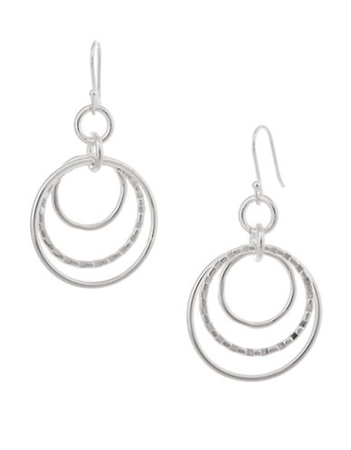 Serpentina Silver Silver Plate Designs Floating Hoops Drop Earrings-SILVER-One Size