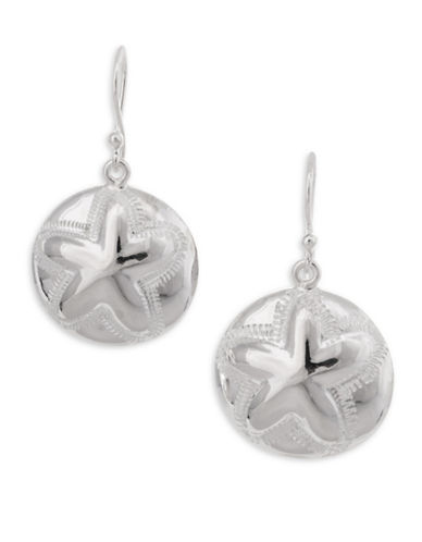 Serpentina Silver Silver Plate Designs Sand Dollar Drop Earrings-SILVER-One Size