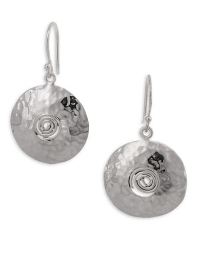 Serpentina Silver Silver Plate Designs Aztec Shield Drop Earrings-SILVER-One Size